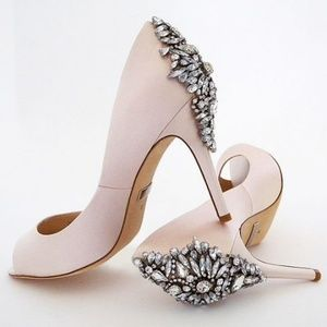 *Badgley Mischka Pink Nilla Open Toe Gem Heels*